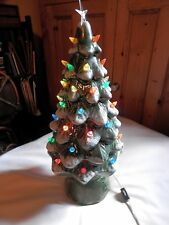 "Vtg Green Ceramic Light Up Christmas Tree on Stand 19"" Tall"