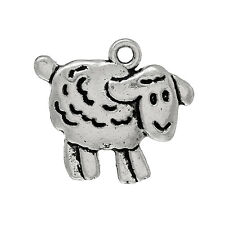 10 Antique Silver SHEEP LAMB Charm Pendants chs1355a