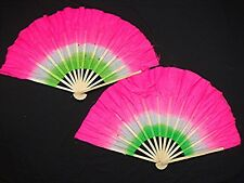 "2 CHINESE 16"" PINK GREEN DANCE HAND FAN WAVY EDGE STAGE PARTY NEW YEAR XMAS  s11"