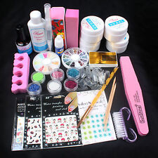 New Pro Acrylic Glitter Powder Glue French UV Gel Brush Sticker Nail Art Set
