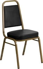 HERCULES Series Trapezoidal Back Stacking Banquet Chair w/Black Vinyl Gold Frame