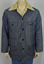 True Vtg Genuine Roebucks Shearling Lined Heavy Jean Denim Jacket Sz 40R