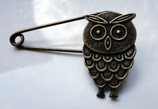 Vintage Style Owl  Brooch Charm Safety Pin Findings Scalf Pendant Very Unusual