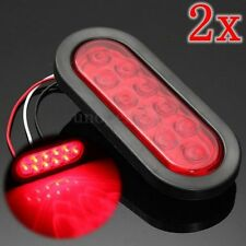 (2) Red LED Surface Mount 6'' Oval Stop Turn Tail Light Sealed Trailer truck
