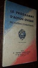 LE PROGRAMME D'ACTION CIVIQUE DES ANCIENS COMBATTANTS