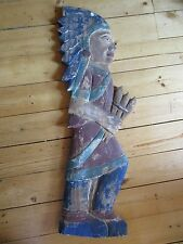 WOODEN CIGAR STORE INDIAN PLAQUE, CARVED WOOD INDIAN FOR WALL , Item # WY-00104