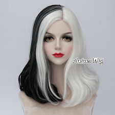 Heat Resistant Cosplay Halloween Straight Short White Mixed Black Lolita Wig