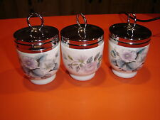 "3 Royal Worcester Small Egg Coddlers 2.5"" Woodland Design Made in England"