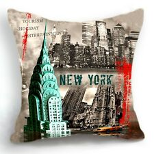 Retro Vintage New York City Home Decorative Pillow Case Cushion Cover 18''