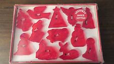 Vintage 12 Red Plastic Christmas Cookie Cutters Original Box Manger Nativity