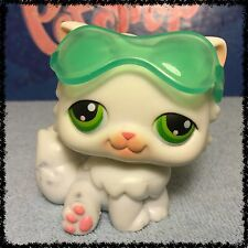 Littlest Pet Shop #15 White Persian Kitty Cat w/ Green Eyes Sunglasses BLEMISHED