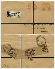 GB to TRINIDAD REGISTERED METER FRANKING 1939 KG6 5 1/2d WESTMINSTER BANK
