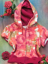 GUESS short sleeve HOODIE pouch front pockets PINK peach ROSE terrycloth NWT p/s