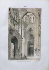 Lithographie en deux tons XIXème - Normandie - Cathédrale d'Evreux - Beuzelin
