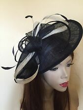 NEW Navy Blue Ivory Saucer Hat Fascinator Wedding Formal Ladies Hatinator
