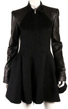 GARETH PUGH Black Wool Alpaca & Lambskin Leather Zip Princess Coat 42