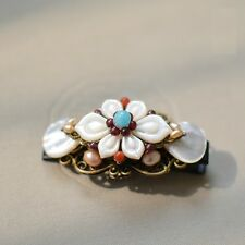 Oriental classic style handmade hairclip with natural pearl garnet copper frame