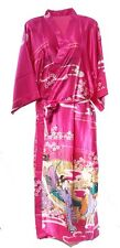 (810303)Pink Ladies Long Silk Satin Feel Kimono Robe Dressing Gown 12-18 UK