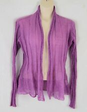 EILEEN FISHER Mohair Nylon Lacy Orchid Purple Open Front Cardigan Sweater M