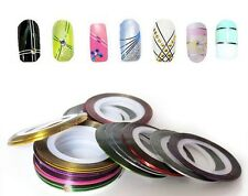 10 mixed Colour Rolls Nail Art Lace Tape Line Strips Nails Decoration Stickers