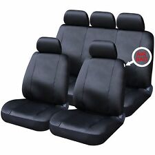 9 PCE Time Square Leather Look Black Heavy Duty Car/Taxi Auto Seat Covers