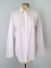 NWT $45 Gap White Pink Pinstripe 100% Cotton Fitted Career Blouse Top 12