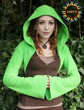 Green Fleece Shrug Flared Sleeve Hooded Pixie Hippy Psy S~M REDUCED TO CLEAR