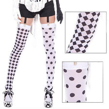 White/Black Sheer Two Toned Thigh High Harlequin Polka Dot Stocking Halloween OS