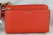 COACH MADISON LOGANBERRY SAFFIANO LEATHER DOUBLE ZIP WRISTLET 51441