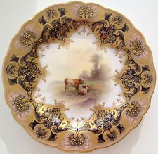 Royal Worcester Hand Painted Highland Cattle Plate Signed John Stinton