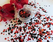Nail Art Chunky *RouGe* Circle Red Black Dot Spot Shape Glitter Spangle Mix Pot