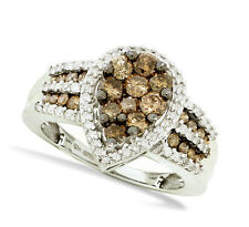 Wow! 100% 10K White Gold Chocolate Brown & White Diamond Fashion Ring 1.4ct