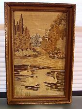 Antique Textile Needlepoint Painting Landscape w/ Swans Framed Georgian Style