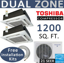 Dual Zone Ductless Mini Split Air Conditioner - 2 x 12000 BTU : CEILING CASSETTE