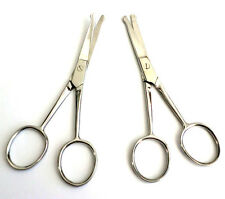 "2pc 4.5"" Straight + Curved Mustache Nose Hair Scissors w/ Safety Tips US SHIPPER"