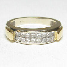 Estate 18K White And Yellow Gold 16 Princess Cut Diamond Band Ring 0.50 Cts