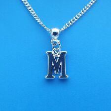 "1 x Silver Plated 18"" Letter M Necklace Alphabet Initial"
