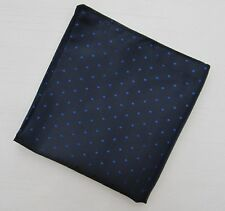 Mens Navy & Blue Pin Dot Silk Satin Pocket Square/Handkerchief/Hankie/Kerchief