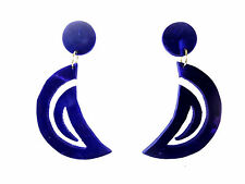 LADIES UNIQUE CHUNKY SUEDE EARRINGS BRAND NEW UNIQUE STUNNING BLUE (B3)
