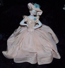 RARE EXQUISITE Antique Porcelain HALF DOLL German Peach Silk Dress Cushion MINT