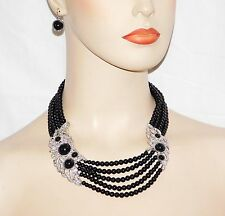 Classic Necklace & Earring Set W. Black Onyx Pearl and Silver Clear Rhinestones