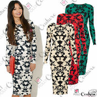 Womens White Floral Print Vintage Ladies Bodycon Long Sleeve Midi Evening Dress