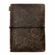 ZLYC Vintage Handmade Refillable Leather Flowers Emboss Travelers Journals Diary