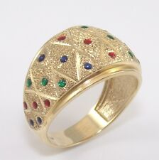 14K Yellow Gold Emerald Ruby Sapphire Color Enamel Textured Ring Size 9 ZD