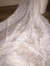 """1 MTR IVORY COTTON THREAD LYCRA STRETCH LACE FABRIC.. 65"""" WIDE  £5.99"""