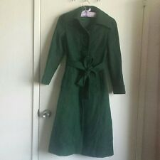 Emerald Green Vintage Antique Full-Length Wool Slim Fit Long Trench Jacket Coat