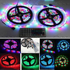 2x5m 3528 SMD RGB 600LEDS FLEXIBLE STRIP LIGHT +44 KEY IR REMOTE CONTROLLER 5MX2