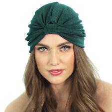 Kristin Perry Slinky Knit Full Turban Polk Dot Headband Head wrap Green