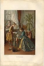 Stampa antica GIOVANI DONNE in PARTENZA PER LE VACANZE 1888 Old antique print