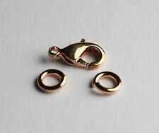 10 MM Rose Gold Plated Brass lobster Clasp Pkg, of 20 + 40 Jump Ring /US Seller